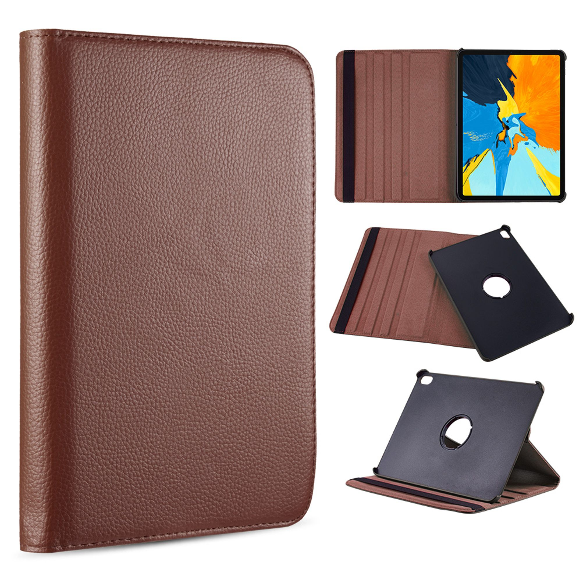 Apple iPad Pro 12.9 (2018) Case, by Insten Rotatable Stand Dual Layer Hybrid Folio Flip Leather Case Cover For Apple iPad Pro 12.9 (2018) - Brown