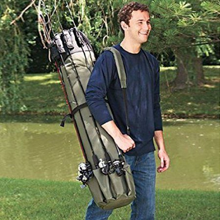Fishing Rod Reel Case Bag Organizer Travel Carry Carrier Holder Pole Tools Bags