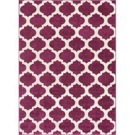 Well Woven Tinsley Trellis Purple & Ivory Moroccan Lattice Modern Geometric Pattern 5x7 (5' x 7') Area Rug Soft Shed Free Easy to Clean Stain Resistant ()