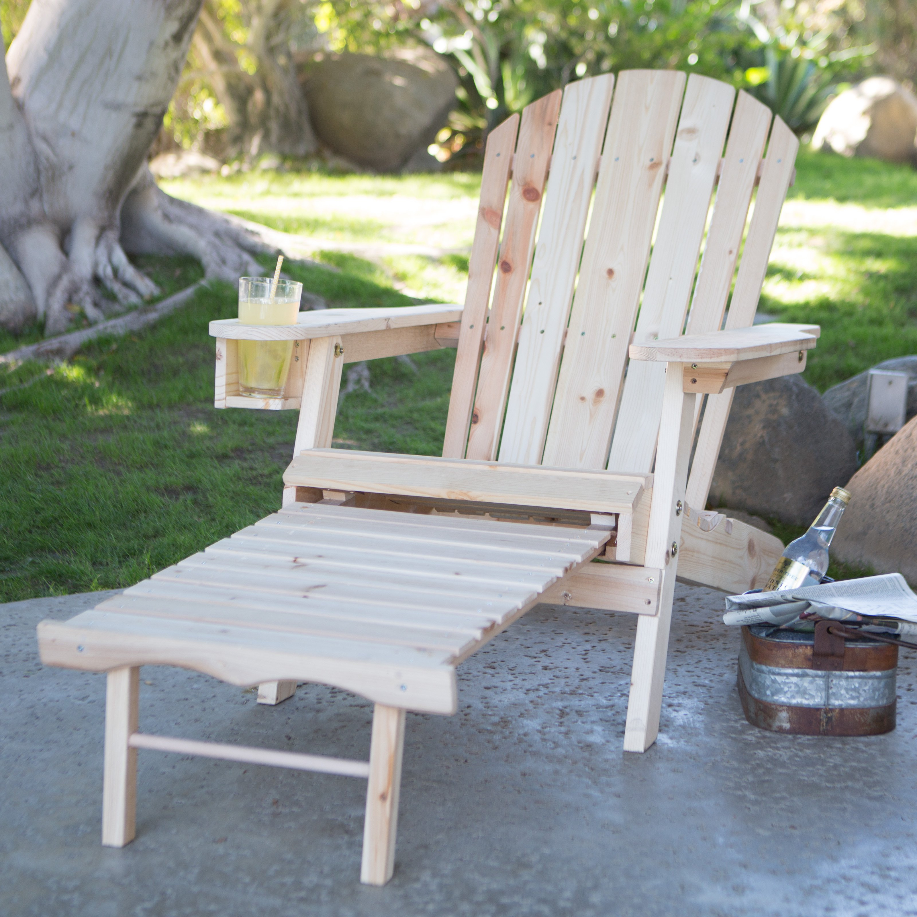 Excellent Coral Coast Big Daddy Adirondack Chair With Pull Out Ottoman And Cup Holder Unfinished Cjindustries Chair Design For Home Cjindustriesco