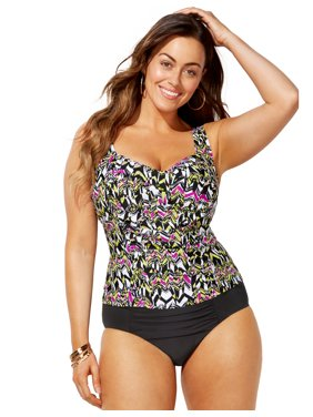 Swimsuits For All Women's Plus Size Ruched Twist Front Tankini Set with Ruched Brief