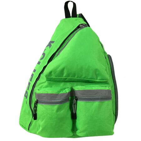 Reflective Sling Backpack Bright Body Bag Student Daypack Bookbag Safety Green