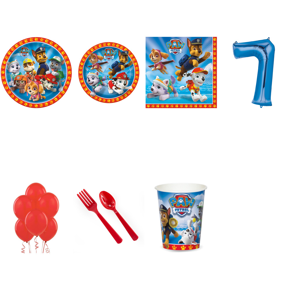 PAW PATROL PARTY SUPPLIES PARTY PACK FOR 32 WITH BLUE #7 BALLOON