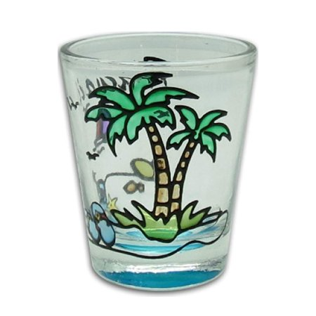 Hawaiian Hand Painted Shot Glass Palm Beach