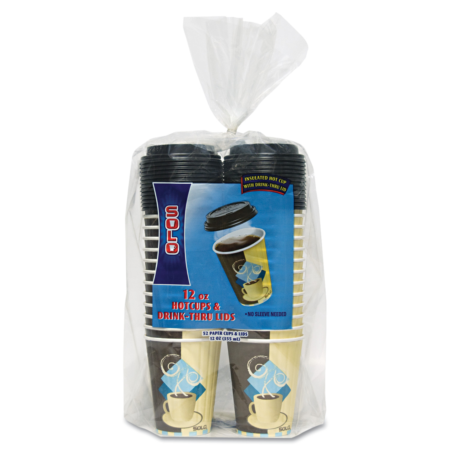 Dart Duo Shield Paper Hot Cups/Lids Combo, 12oz, Tuscan Cafe, 52/Pack, 6 Packs/Carton -SCCFSIC12J753CT