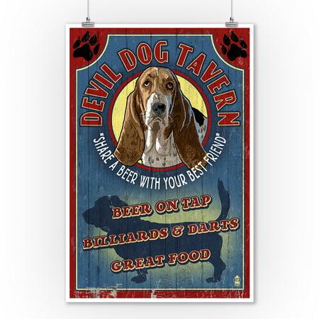 Devil Dog Tavern Vintage Sign - Basset Hound - Lantern Press Artwork (9x12 Art Print, Wall Decor Travel Poster)
