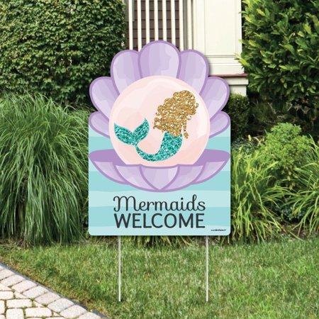 Mermaid Birthday Decorations (Let's Be Mermaids - Party Decorations - Birthday Party or Baby Shower Welcome Yard)