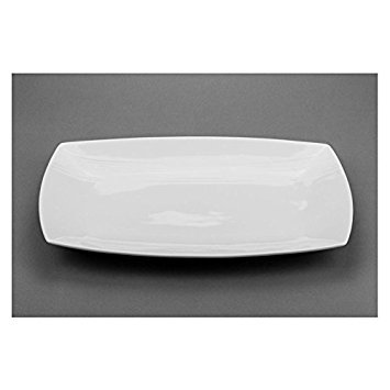 Modern M60214, 14-Inch Rectangular Porcelain Plate, Curved White Rectangular Serving Platter Tray, Classic Serving Plate Dish (1)