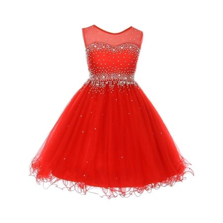 Girls Red Sparkling Rhinestone Illusion Tulle Party Formal Dress