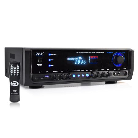PYLE PT390BTU - Digital Home Theater Bluetooth Stereo Receiver, Aux (3.5mm) Input, MP3/USB/SD/AM/FM Radio, (2) Mic Inputs (300 Watt)