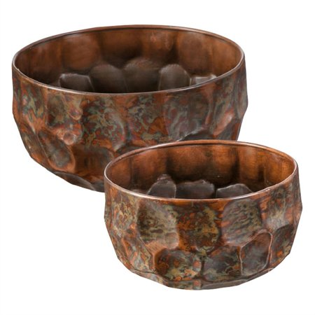Textured Planter in Burnt Copper Finish, Set of 2