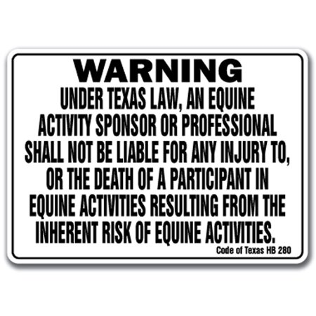 TEXAS Equine Sign activity liability warning statute horse farm barn stable