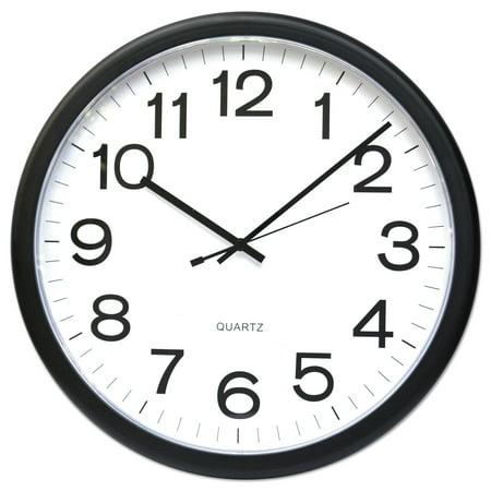 Universal Round Wall Clock, Black, 12