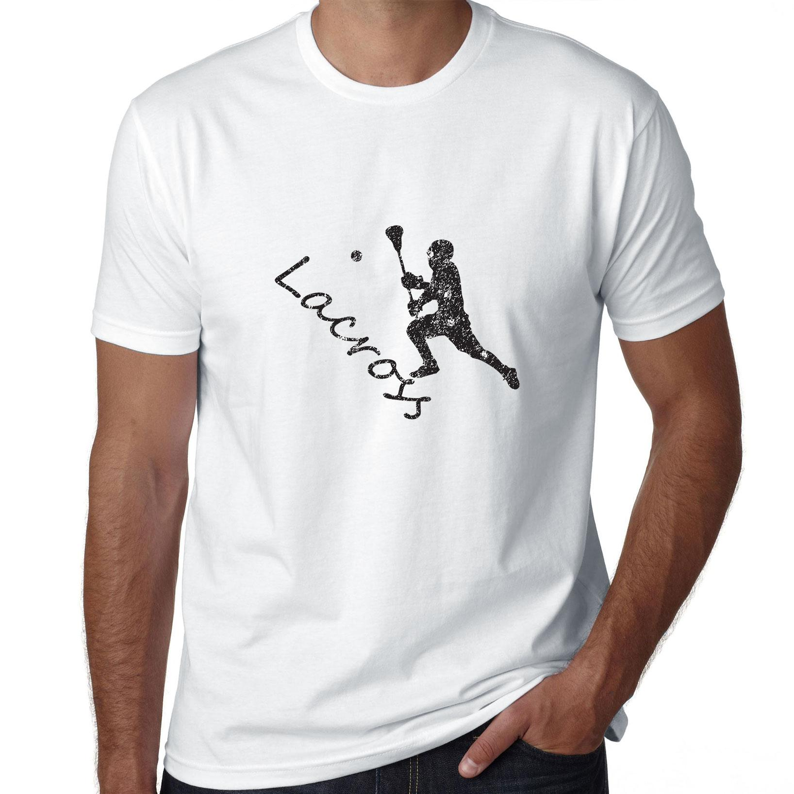 Lacrosse Stencil Player Throwing Ball Game Graphic Men's T-Shirt