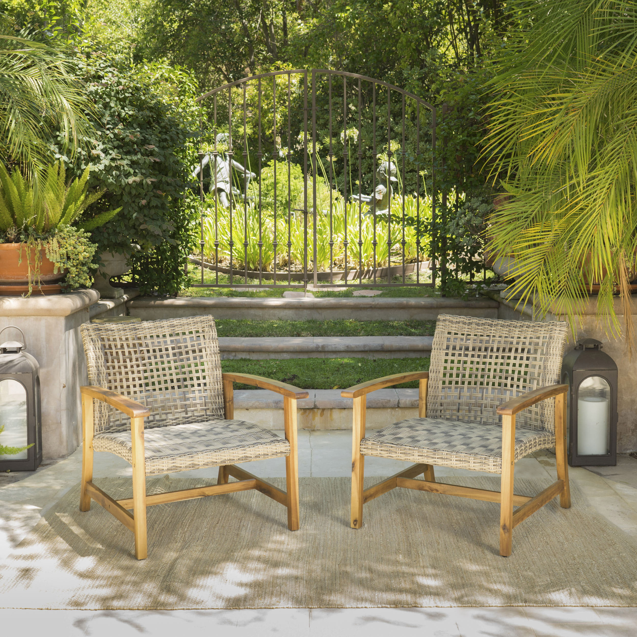 Outdoor Mid Century Wicker Club Chairs With Natural