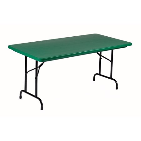 Correll Commercial Duty GREEN Plastic Top Folding Table One-Piece Blow-Molded Plastic Top is Waterproof, Scratch, Stain, & Impact Resistant, Colors go all the way through