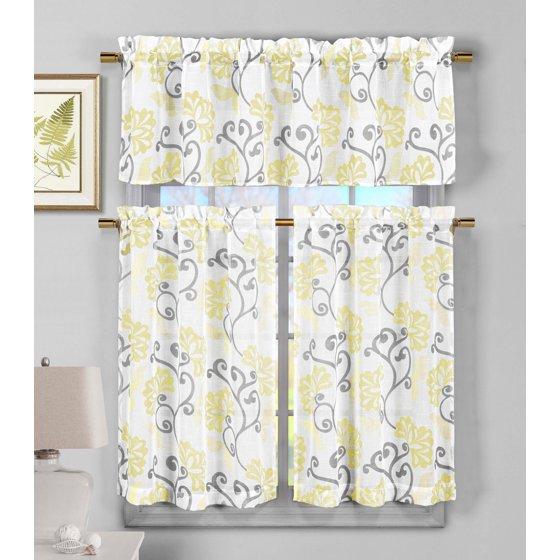 Duck River Rivietta Floral Linen 3 Piece Kitchen Curtain: 3 Piece Sheer Window Curtain Set: Yellow Floral Vine