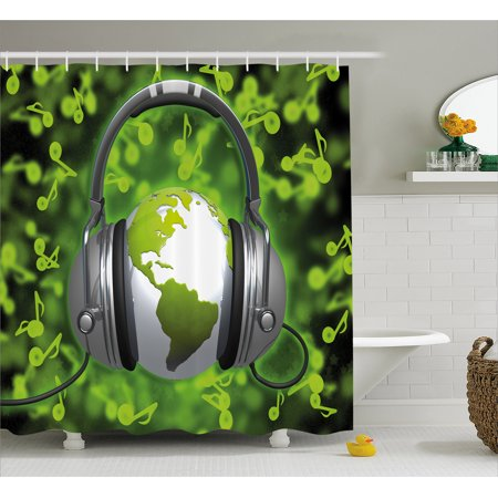 World Shower Curtain Of Music Themed Composition Dj Headphones Musical Notes And Earth Globe