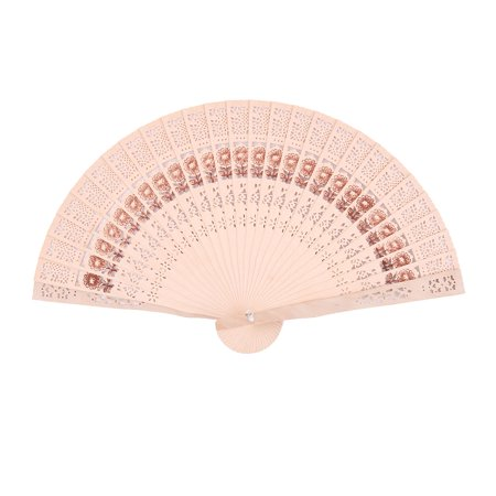 Dorm Wood Flower Hollow Out Design Handheld Folding Dancing Cooling Hand Fan - Folding Hand Fans