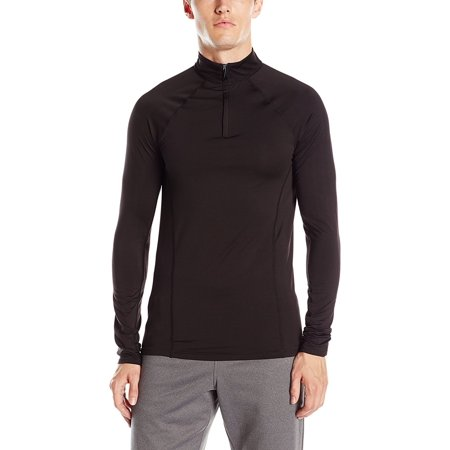 ClimateSmart Men's FlexFit Long Sleeve 1/4 Zip Lightweight Baselayer Black