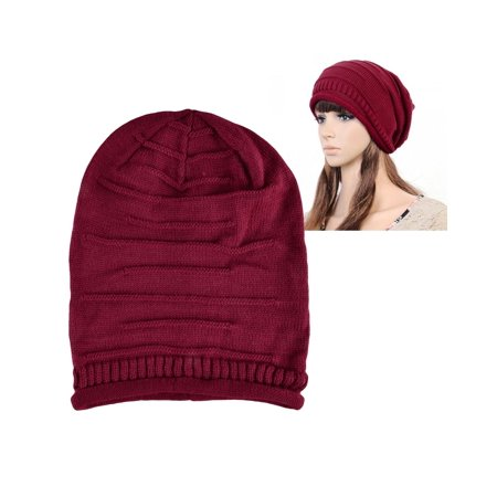 400e41a35375 Beanie Hat for Women by Zodaca Unisex Winter Knit Baggy Beret Oversized  Fashion Warm Ski Cap - Red - Walmart.com
