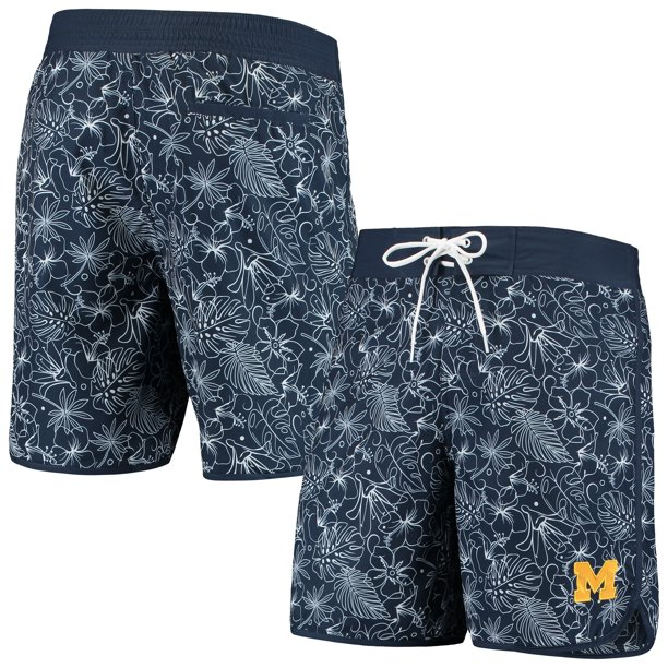 Michigan Wolverines G-III Sports by Carl Banks Wave Volley Swim Shorts - Navy