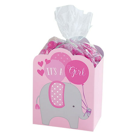 It's a Girl Pink Baby Shower Elephant Favor Boxes (8 - Pink And Grey Baby Shower Decorations