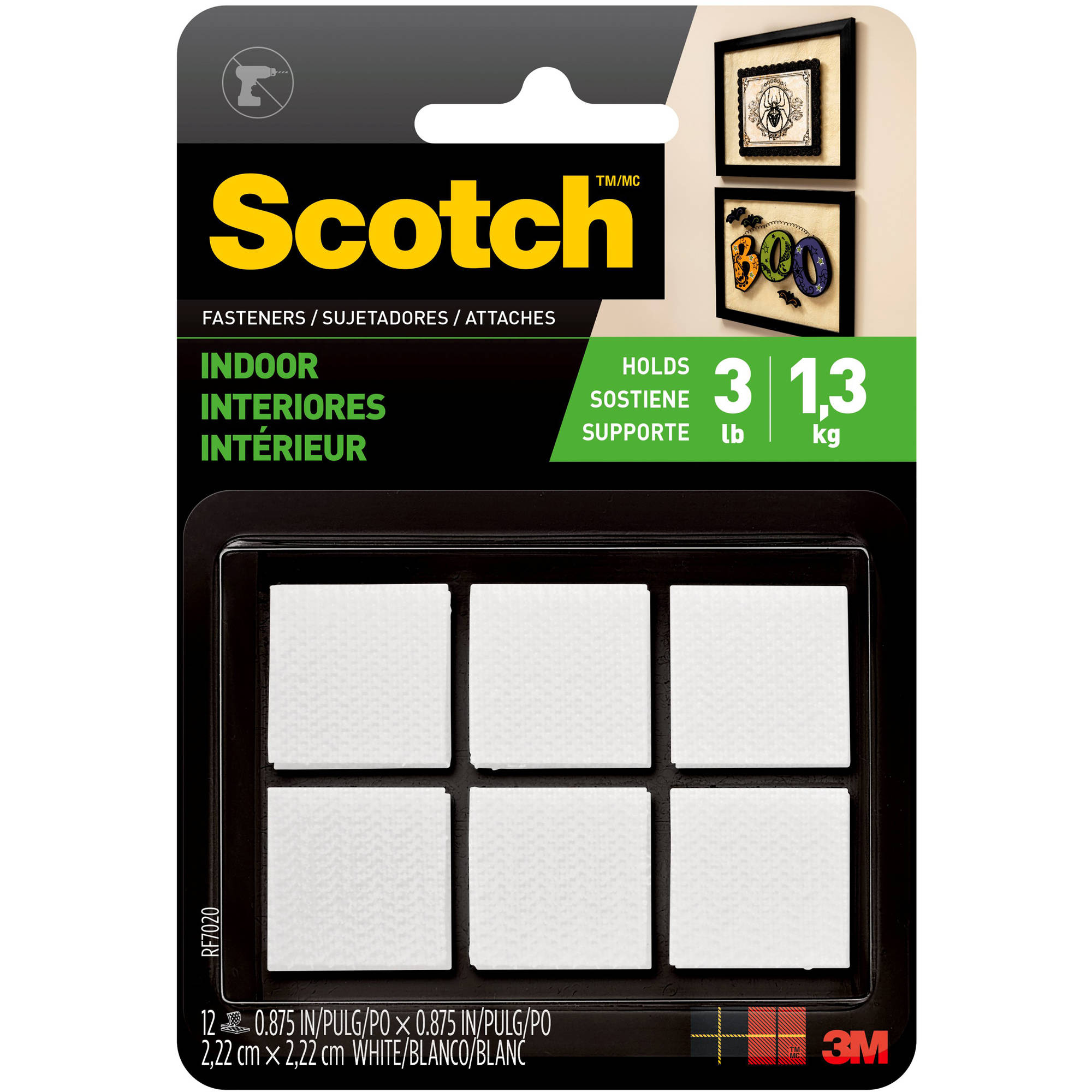 Scotch Indoor Fasteners, 7/8 in. x 7/8 in., White, 12 Sets/Pack