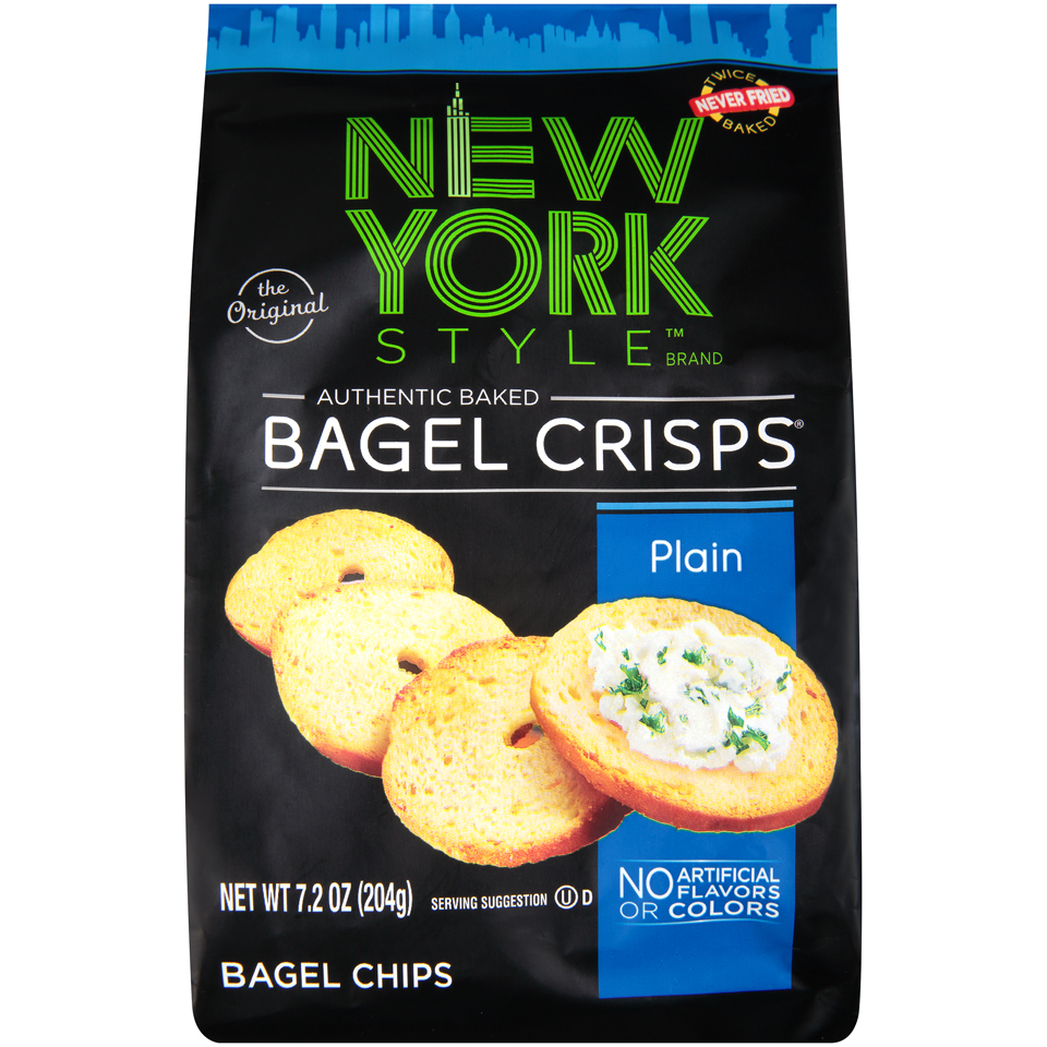 (2 Pack) New York Style Bagel Crisps Plain, 7.2 OZ
