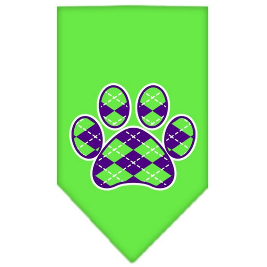 Argyle Paw Purple Screen Print Bandana Lime Green Large