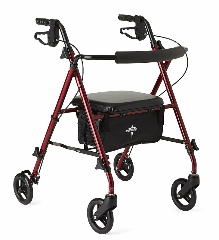 Medline Freedom Ultralight Rollator Walker, Weighs Just 11 lbs