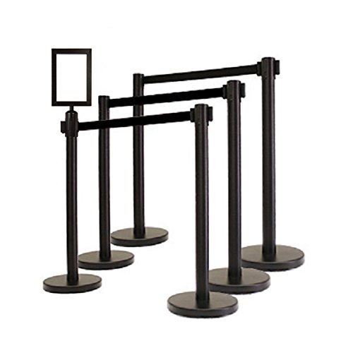GLOBE-WEIS 6 Retractable Belt Stanchions with Black Belt + 1 Portrait Sign Frame Combo