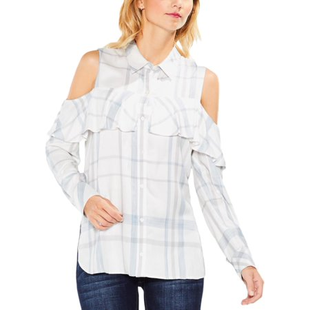 Vince Camuto Womens Button Down Plaid Casual Top