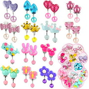 14 Pairs Clip on Earrings Girls, No Pierced Design Earrings Dress up Pretend Princess Play Jewelry Accessories for Kids