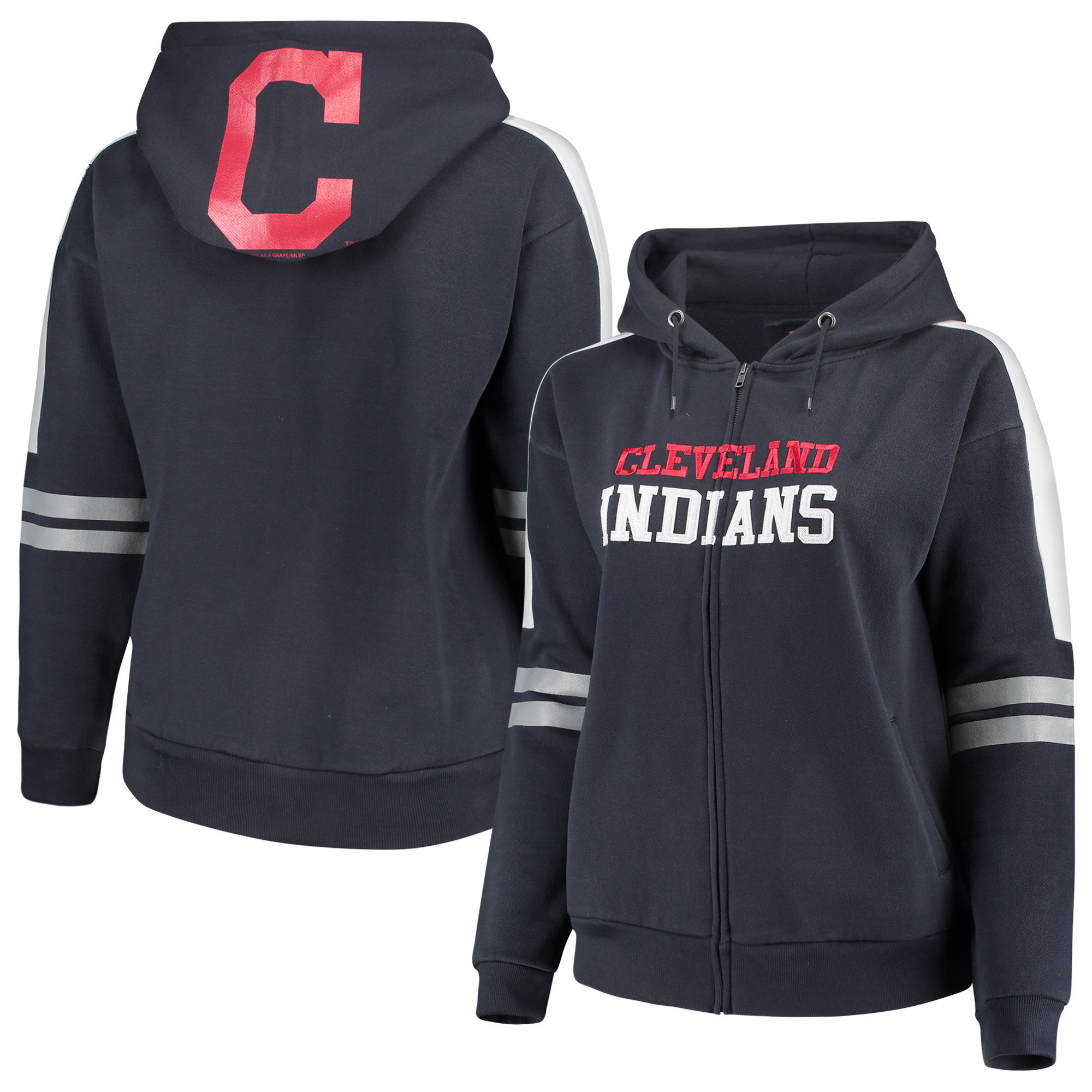 Cleveland Indians Soft As A Grape Women's Curvy Bio-Washed Full-Zip Plus Size Hoodie - Navy