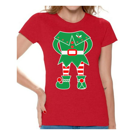 Awkward Styles Elf Shirt Christmas T Shirts for Women Elf Suit Women's Holiday Top Funny Elf Shirt Women's Christmas T-Shirt Family Elf Holiday Shirt Xmas Gifts for Her - Women Elves