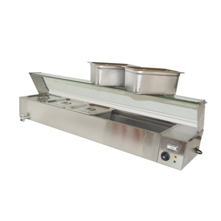 TECHTONGDA Electric Commercial Bain-marie Buffet Food Warmer Steam Table with Glass Guard 5-Pan with Temperature Display Electric Food Holding Cabinet