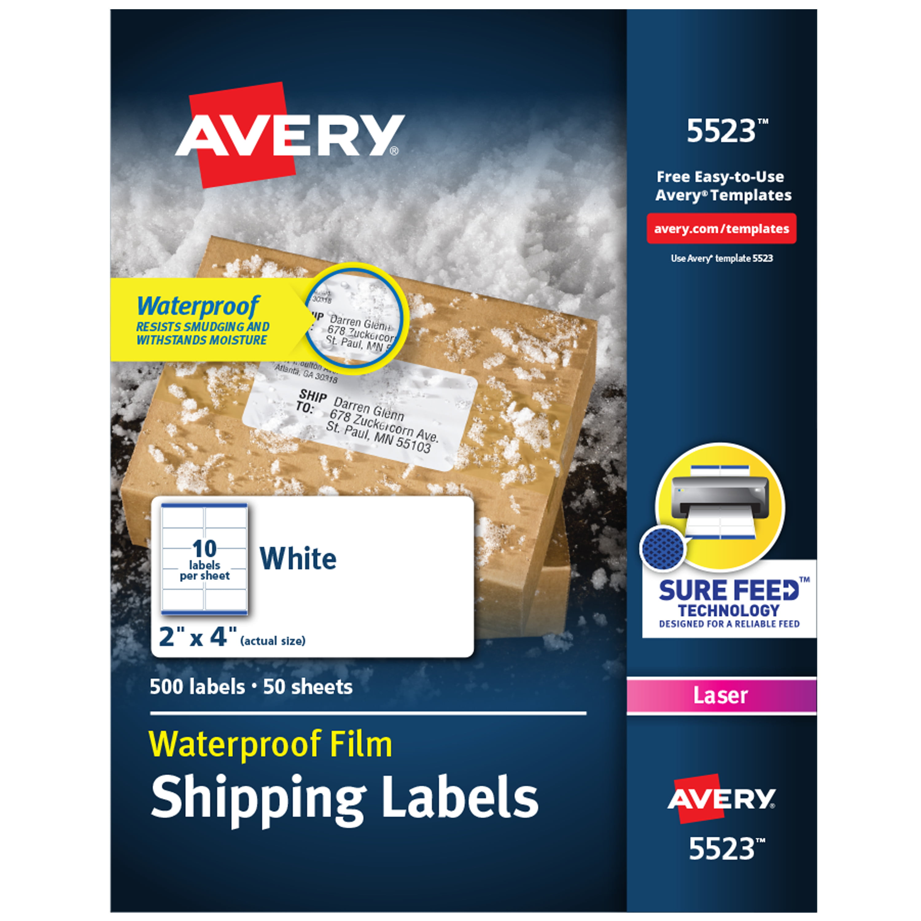 "Avery Waterproof Labels, Sure Feed, 2"" X 4"", 500 Labels"