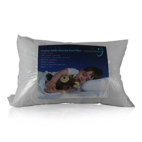 Premium Toddler Pillow for Sleep And Travel (13 x 18) -Soft Microfiber Filling, 100% Cotton Covering, Hypoallergenic,