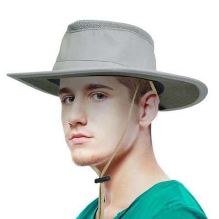 Sun Blocker Outdoor Boonie Sun Protection Hat Mesh Bucket Hat Wide Brim Camping Hiking Fishing Hunting Boating Safari Cap with Adjustable Drawstring for $<!---->