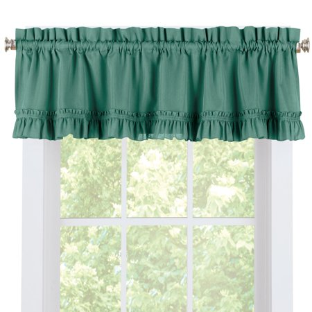 Ruffled Spring Window Valance Curtain for Kitchen or Any Room in Home, Rod-Pocket Top for Easy Hanging ()