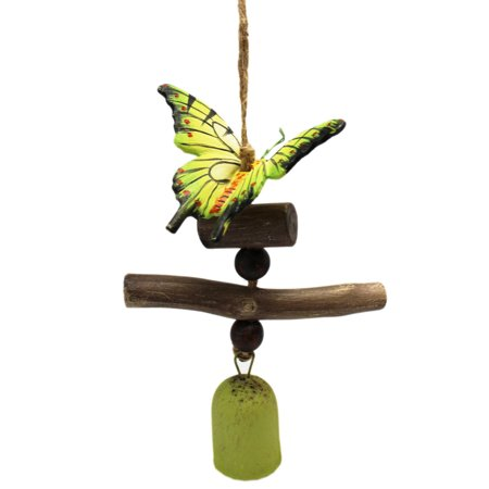 Vibrant Green-Yellow Painted Butterfly w/Green Bell Wind Chime