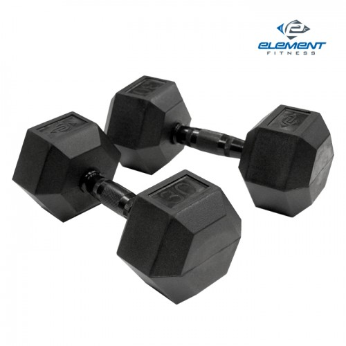 Element Fitness Virgin Rubber Commercial Hex Dumbbell-Weight:50 lbs