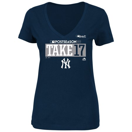 New York Yankees Majestic Women's 2017 Postseason Authentic Collection Plus Size V-Neck T-Shirt - Navy