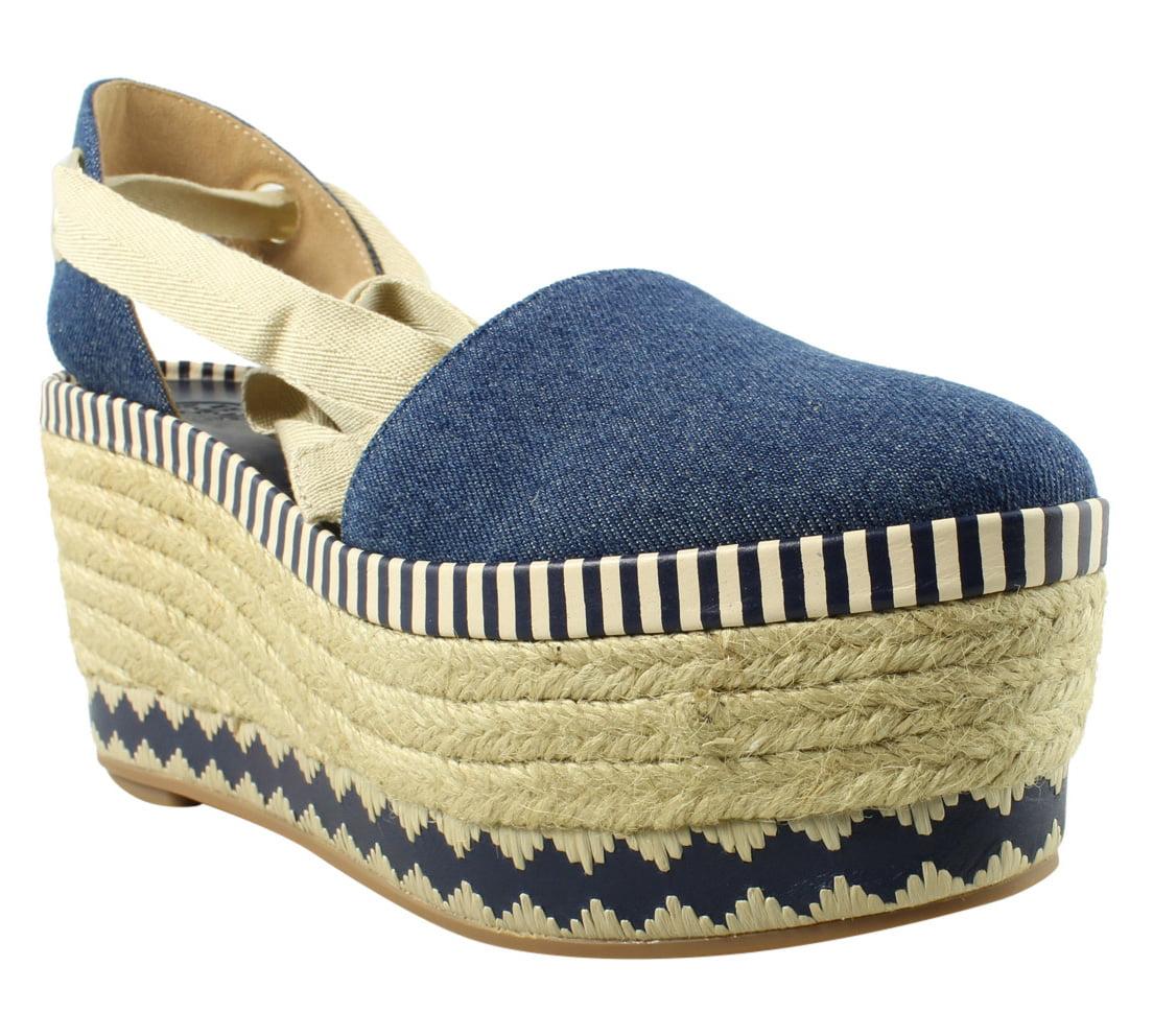 Tory Burch Womens  Blue Espadrille Heels Size 8 New
