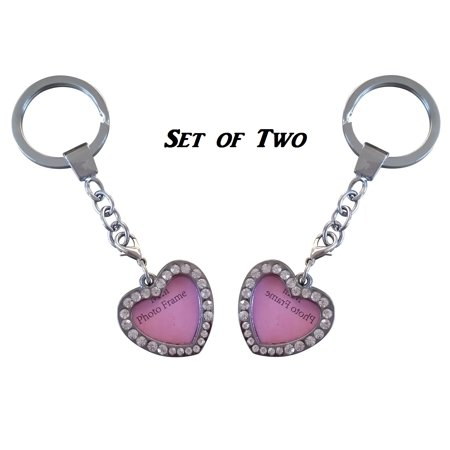 AM Landen - Rhinestone Bling Heart Picture Frames Twin Set Key ...