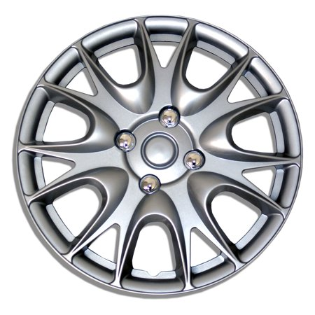 Fr500 Style Wheel - TuningPros Style# 533 Hubcaps Wheel Skin Cover Silver Set of 4