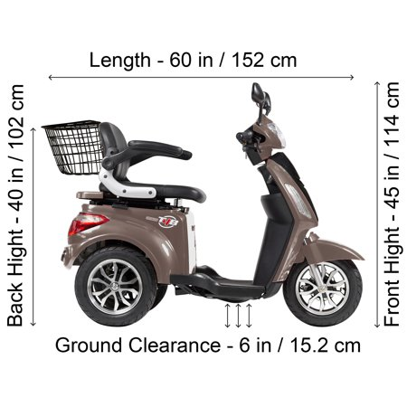 T4B LU-500W Mobility Electric Recreational Outdoors Scooter 48V20AH with Three Speeds, 14/22/32kmph - Brown - image 1 de 14