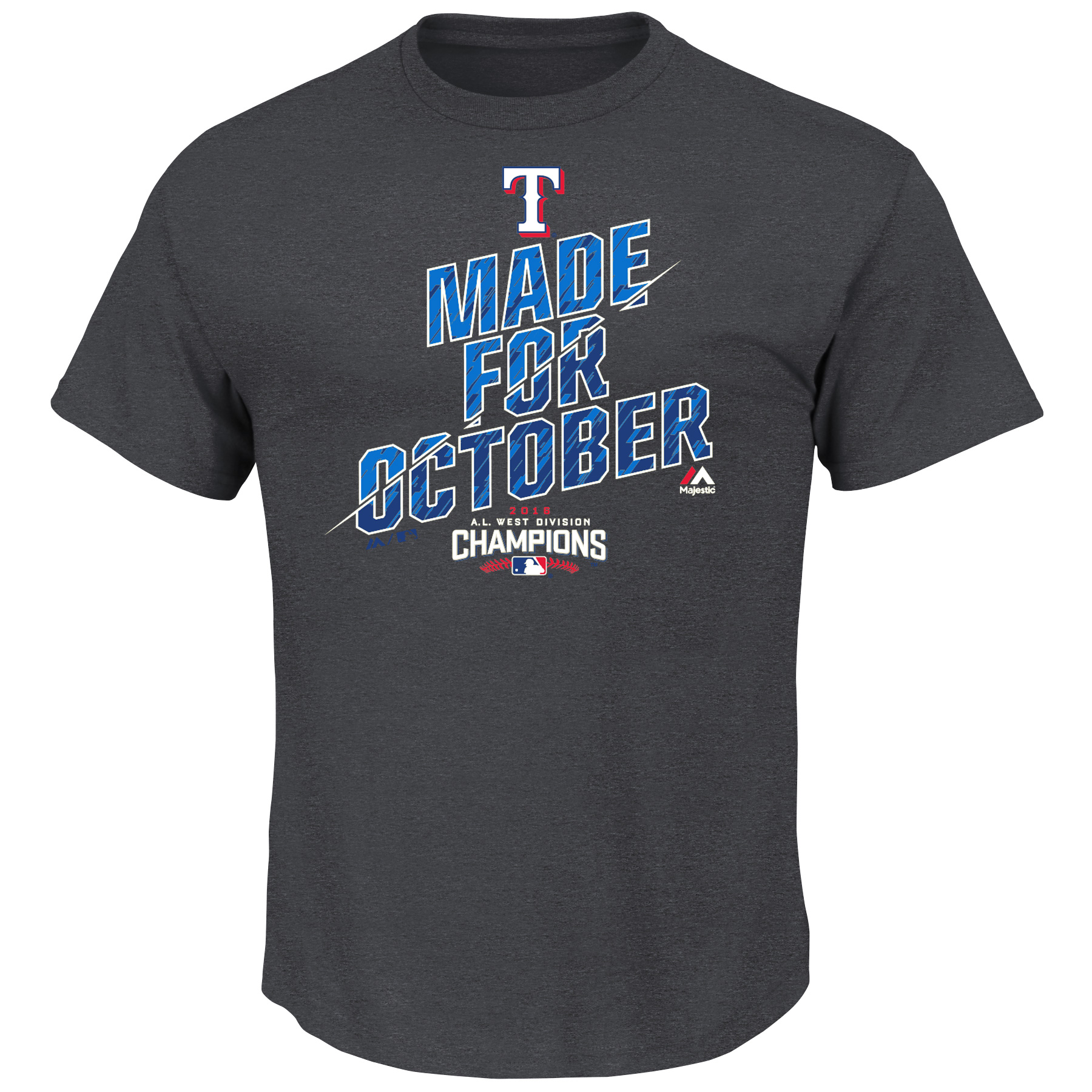 Texas Rangers Majestic 2016 AL West Division Champions Made For October Locker Room T-Shirt - Charcoal