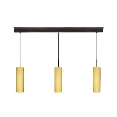 Besa Lighting 3BV-4930VM-BR Three Light Incandescent Pendant with Bronze Metal Finish from the Copa Collecti, Vanilla Matte